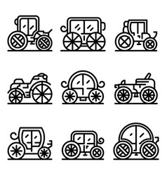Brougham icons set outline style vector