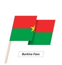 Burkina Faso Ribbon Waving Flag Isolated on White vector image