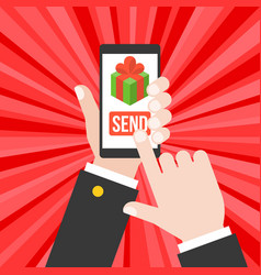 Business hand send gift from smartphone or vector