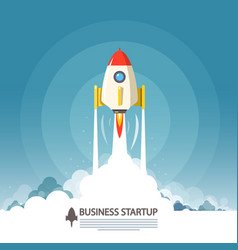 Business startup symbol flat design rocket launch vector