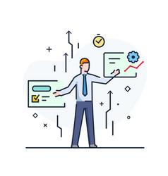 Businessmen staff development workflow growth vector