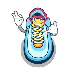 Call me sneaker mascot cartoon style vector