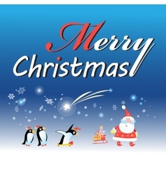 Christmas card with Santa Claus and a penguin vector image