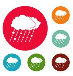 cloud rain snow icons circle set vector image