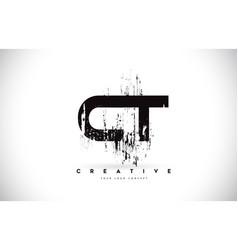 Ct c t grunge brush letter logo design in black vector