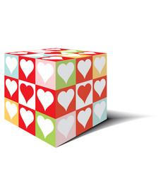 Cube heart love vector