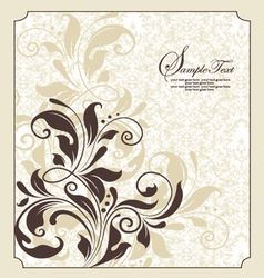 damask floral invitation vector image