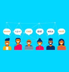 Diverse language conversation banner concept vector