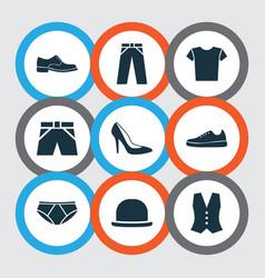 dress icons set collection of pants panama heel vector image