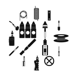 electronic cigarettes icons set simple style vector image