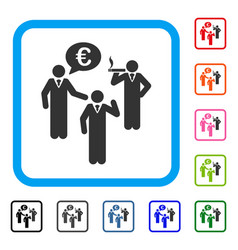 euro discuss people framed icon vector image