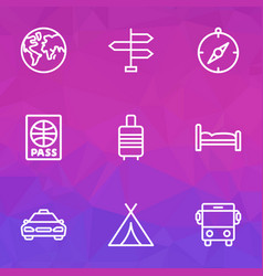 Exploration outline icons set collection of earth vector