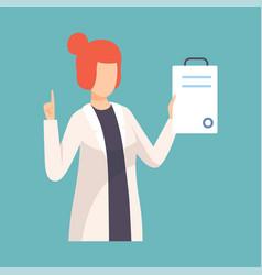 Female doctor raising up her finger giving advice vector