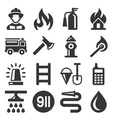 Firefighter and fire department icons set vector