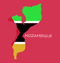 Flag-map mozambique vector