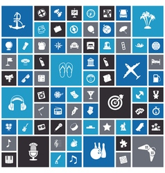 Flat design icons for travel leisure and music vector image