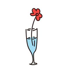 flower flower in modern striped vase simple vector image