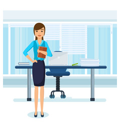 girl in strict clothes in office vector image