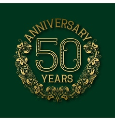 Golden emblem of fiftieth years anniversary vector