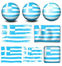 Greece flag in different designs vector image