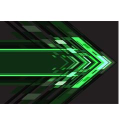 green light arrow geometric direction on dark vector image