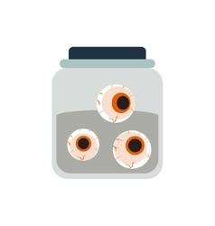 Halloween spooky embalmed eyes in jar vector image