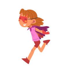Happy girl in superhero costume cute kid playing vector