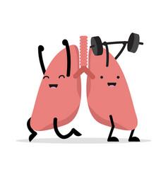 Healthy happy lungs cartoon vector