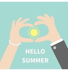 Hello summer Greeting card Man woman hands vector image