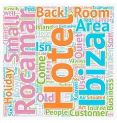 Hotel Rocamar Ibiza Reviewed text background vector image