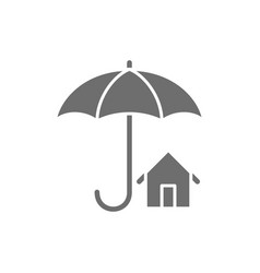 house insurance umbrella with building real vector image