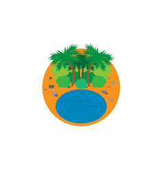icon with beach and palm trees vector image