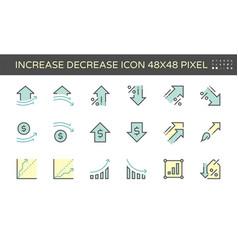 Increase decrease and arrow icon set 48x48 pixel vector