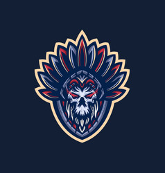 indian skull mascot logo vector image