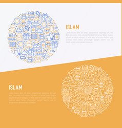 islamic concept in circle with thin line icons vector image