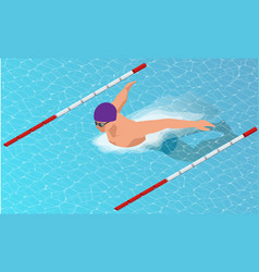 isometric male swimmers doing butterfly style in vector image