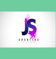 Js j s purple letter logo design with liquid vector