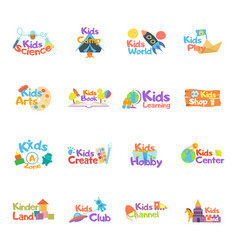 kids logo set logo collection of kids club vector image