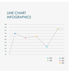 line chart info graphics template business vector image