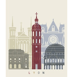 Lyon skyline poster vector image