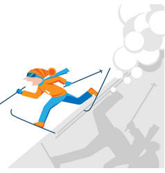 man escaping from snow avalanche in mountains vector image