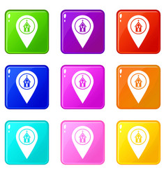 Map pointer with church icons 9 set vector