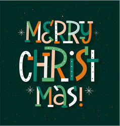 merry christmas modern typography poster vector image