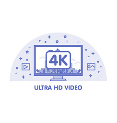 monitor with ultra hd video emblem vector image