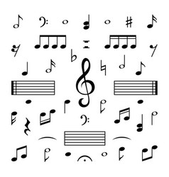 Music notes set musical note treble clef vector