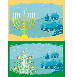 Pair of Happy Holidays cards with Christmas tree vector