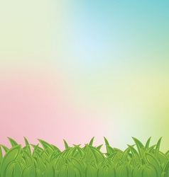 pastel bg with grass frame vector image