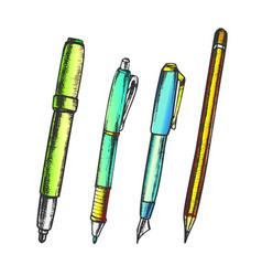 pen pencil and felt-tip marker retro color vector image