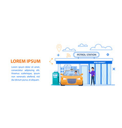 petrol station line yellow taxi fuel vector image