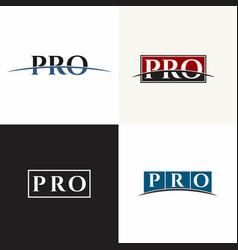 pro set letter logo badge seal word art alphabet vector image